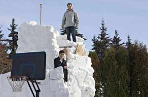 Extreme snow fort in Saskatoon, Canada.