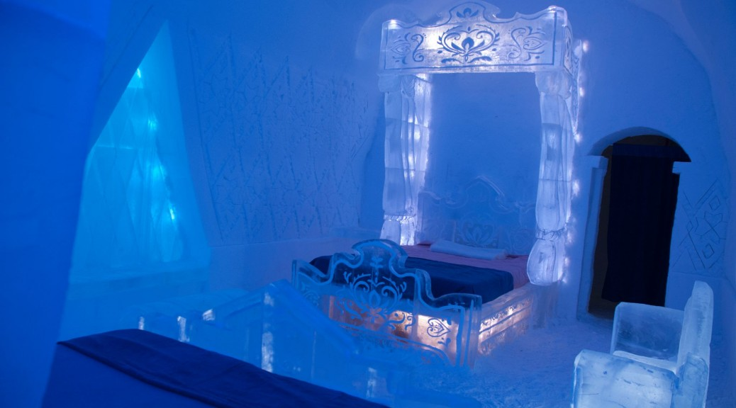 Disney's Frozen themed room in Quebec's 2014 Ice Hotel