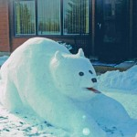 Simple snow sculpture of a polar bear